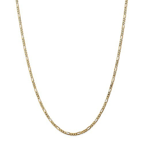 14k Yellow Gold 30in 2.75mm Flat Figaro Necklace Chain by Jewelrypot