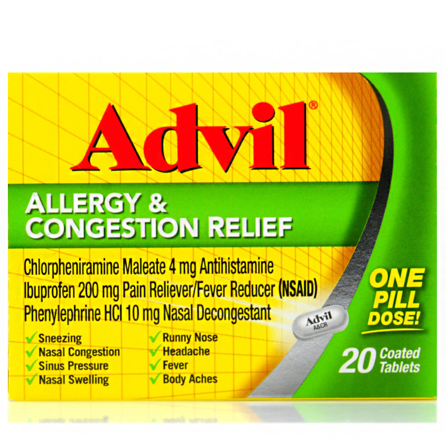 Advil Allergy & Congestion Relief Antihistamine, Pain Reliever/Fever Reducer & Decongestant Coated Tablets 20 Count