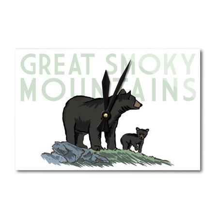 Mountain Acrylic (Great Smoky Mountains, Tennessee - Black Bear & Cub - Lantern Press Artwork (Acrylic Wall Clock))