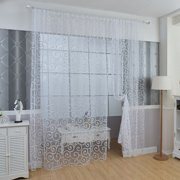 Fashion Floral Tulle Voile Window Curtains Door Drape Panel Sheer Scarf Valances