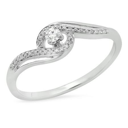 0.15 Carat (ctw) 10K Gold Round White Diamond Swirl Split Shank Bridal Promise Engagement Ring