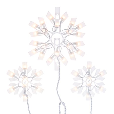 Holiday Time Clear Snowflake Icicle Christmas Lights Set, 6', 6 Count, White Wire ()