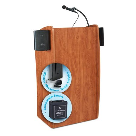 Oklahoma Sound M611-S-LWM-6 30W The Vision Lectern with Sound, Rechargeable Battery & Tie Clip-Lavalier Wireless Mic - Wild - Wireless Victoria Lectern