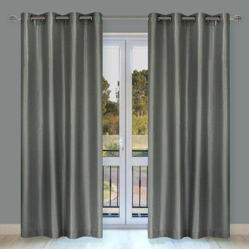 LJ Home Silkana Faux Silk Grommet Curtain Panel (Set of 2)