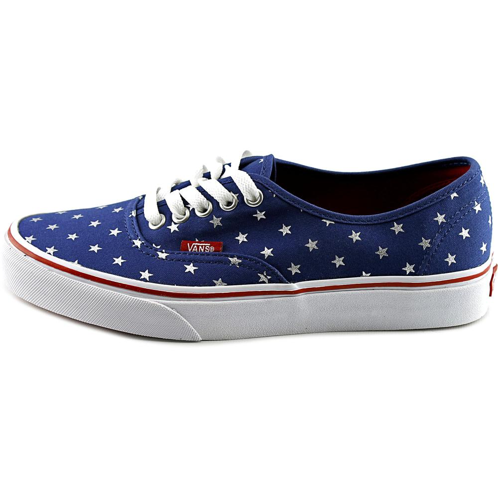 Vans Authentic Studded Stars Red / Blue Ankle-High Canvas Skateboarding Shoe - 9M 7.5M