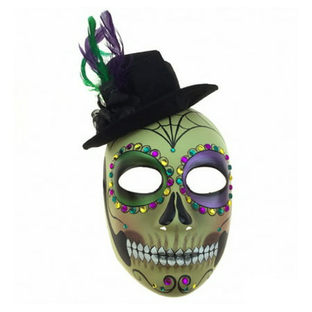 Adult Unisex Male Day of Dead Full Face Mask with Top Hat, Colorful Mardi Gras Sugar Skull Multicolored One Size Mexican Spanish Tradition Halloween Costume Accessory