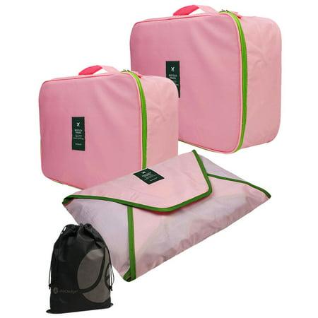 JAVOedge 3 Piece Set Fold Up Packing Cubes for Travel, Storage, Luggage (Medium, Large, Envelope Style)