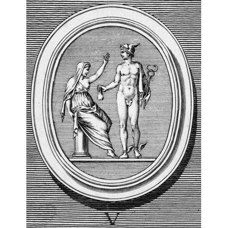 Mercury And Pudicitia Nmercury  Greek Name Hermes  Giver Of Fertility Offering His Purse To Pudicitia Personification Of Chastity Who Refuses It Copper Engraving French 18Th Century Rolled Canvas Art