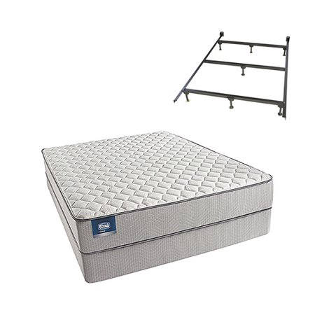 cadosia queen size firm mattress and low profile box spring set with frame simmons beautysleep. Black Bedroom Furniture Sets. Home Design Ideas