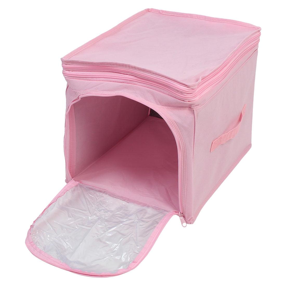 Unique Bargains  Adjustable Foldable Visual Clothes Storage Box Finishing Bag Pink