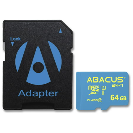 Abacus24-7 64GB microSD Memory Card with SD Adapter for Nikon COOLPIX S6400 S6500 S6800 S6900 S70 S700 S7000 S710 S80 S8000 S800c S8100 S810c S8200 S9100 S9300 S9500 S9700 S9900 W100 Camera