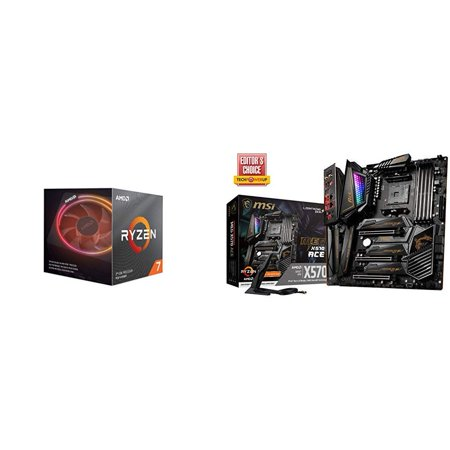 AMD Ryzen 7 3800X 8-Core, 16-Thread Unlocked Desktop Processor with Wraith Prism LED Cooler with MSI MEG X570 ACE Motherboard Amd Based Motherboards