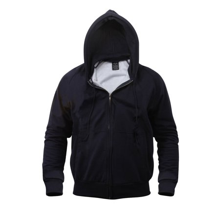 Thermal Lined Zipper Hooded Sweatshirt 2X-Navy Blue