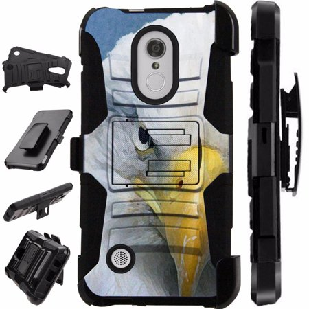 [World Acc] For LG Rebel 3 L158C L158VL L157BL Case Heavy Duty Hybrid Silicone Cover Stand LuxGuard Holster (Half (Stand Accs Kit)