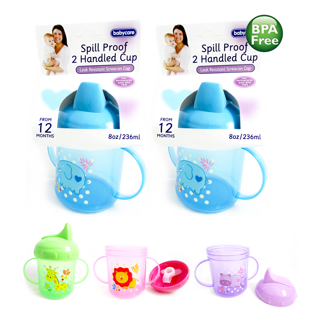 2 New Sippy Drinking Cups No Spill Design BPA Free 8oz Handles 12m+ Baby Toddler