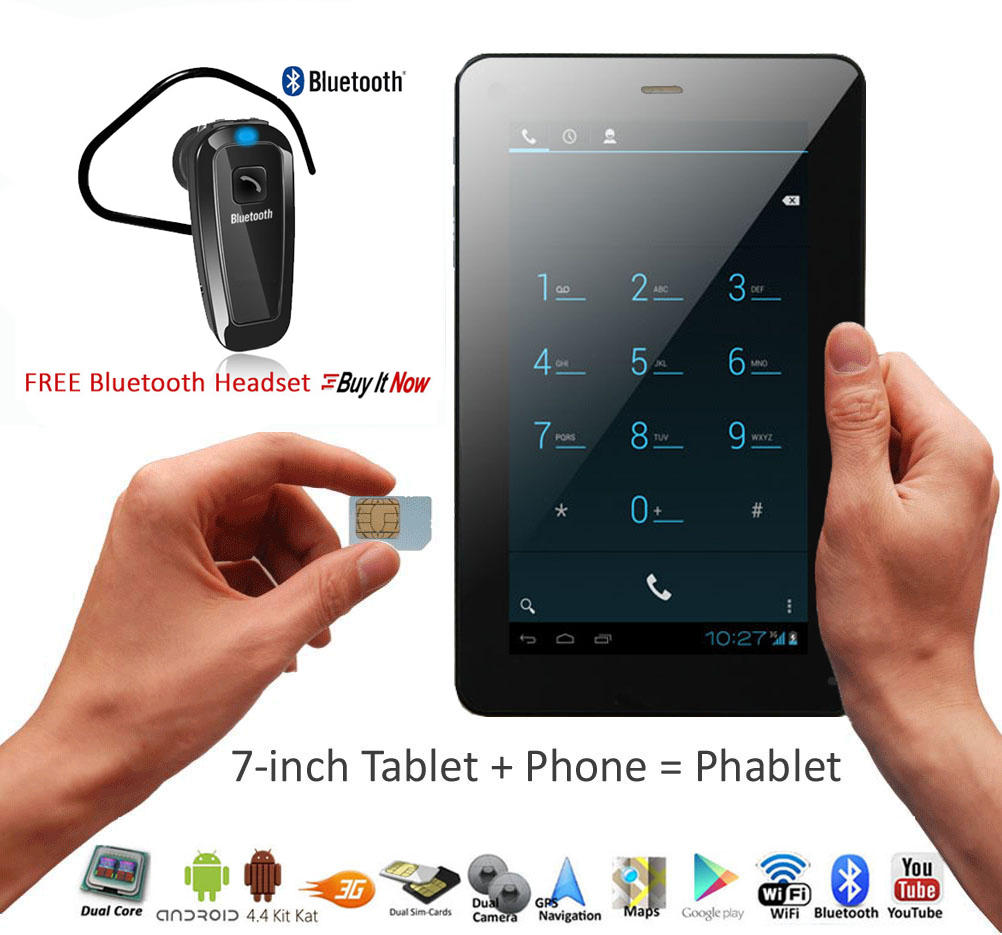 """Indigi® 7"""" Unlocked 3G SmartPhone 2-in-1 Android 4.4 Tablet PC w/ Built-in Smart Cover + Bluetooth Included(Black)"""