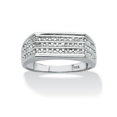 Men's 1/4 TCW Channel-Set Diamond Triple-Row Band in Platinum over Sterling Silver 4mm Platinum Channel Diamond Ring
