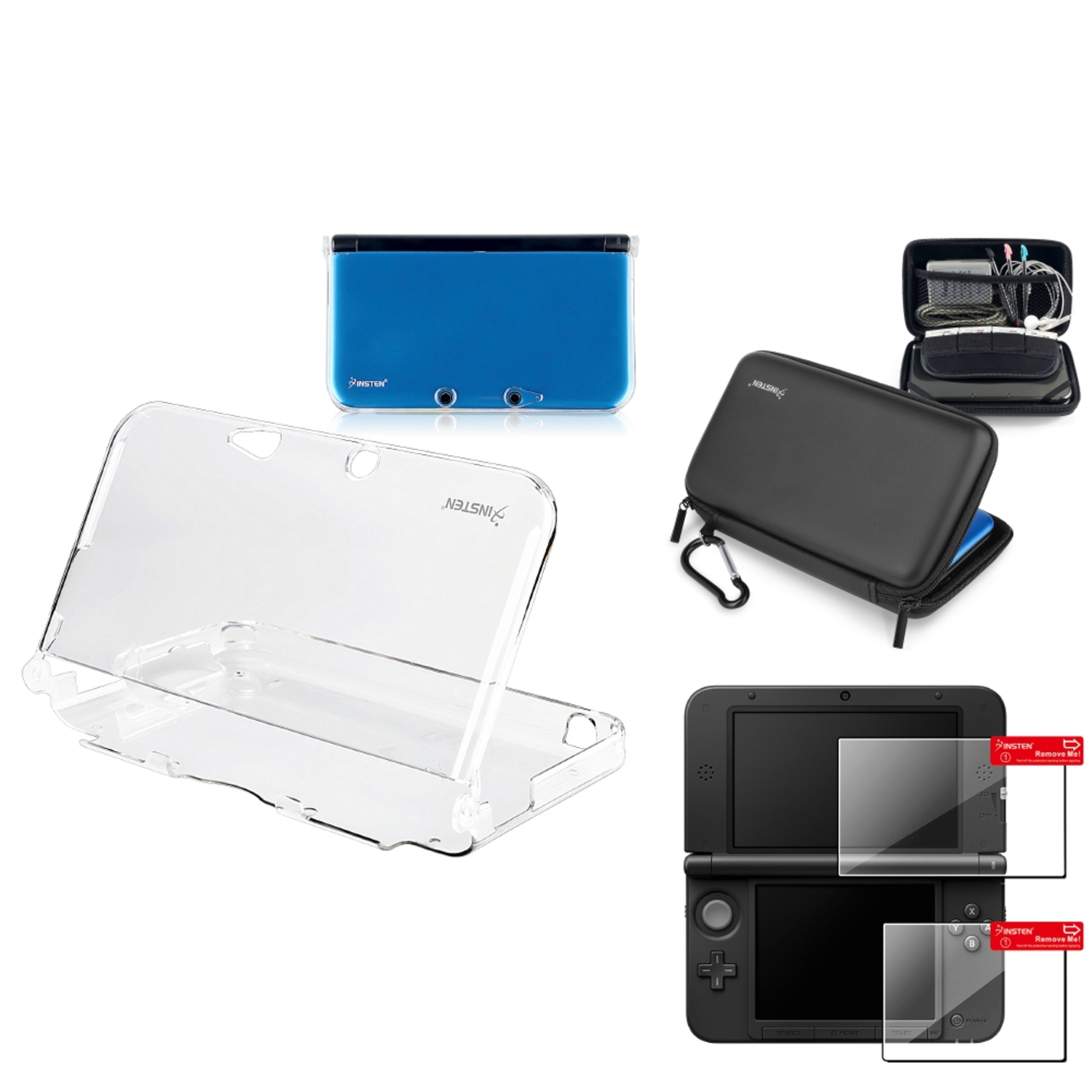 Insten Clear Hard Case Cover + EVA Hard Pouch + Screen Protector for Nintendo 3DS XL