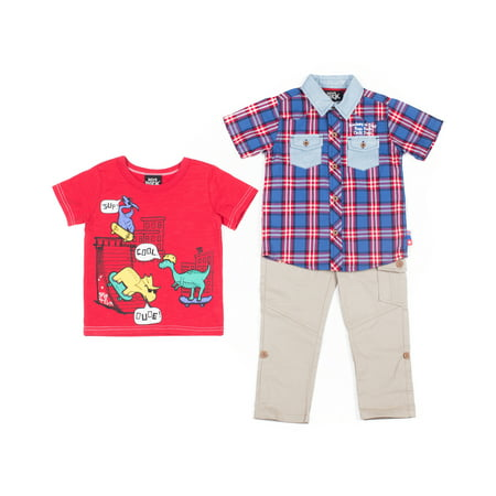 Baby Toddler Boy Short Sleeve Woven Shirt, T-shirt, & Pants, 3pc Outfit Set
