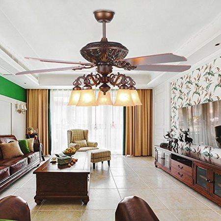andersonlight transitional ceiling fan 5 light 5 blades, reversible quiet  fan chandelier, for bedroom living room dining room fan light, antique ...