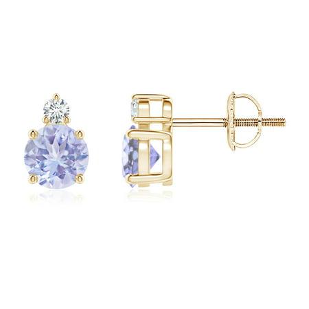 Basket-Set Round Tanzanite Stud Earrings with Diamond in 14K Yellow Gold (5mm Tanzanite) -