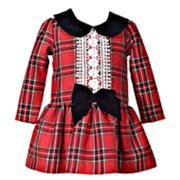 Newborn or Toddler Girls Red Plaid Holiday Christmas Dress 4T