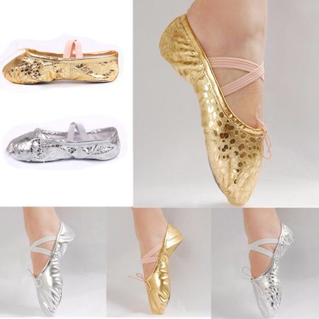 Kids Ballet Dance shoes Women PU Leather Gymnastics Ballet Dance Pointe Sequins Gold Silver Shoes (Gold Leather Footwear)