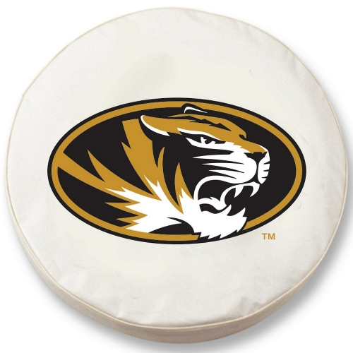 NCAA Tire Cover by Holland Bar Stool - Missouri Tigers, White - 29.75 L x 8 W
