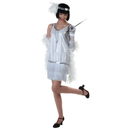 Silver Plus Size Flapper Dress Costume (Flapper Dress Plus Size Cheap)