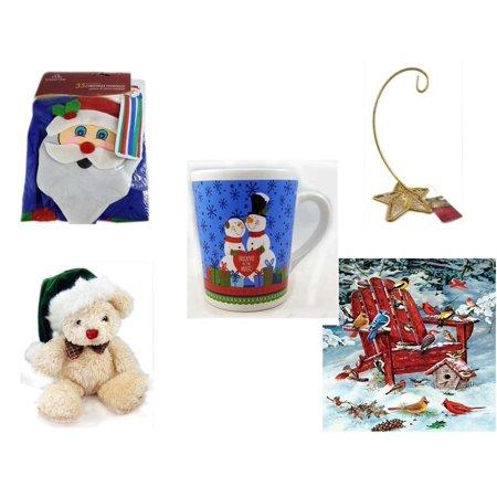 Five Star Base - Christmas Fun Gift Bundle [5 Piece] -  Time  Windsock Santa - Gold Glitter Star Base Ornament Hanger - Happy s!