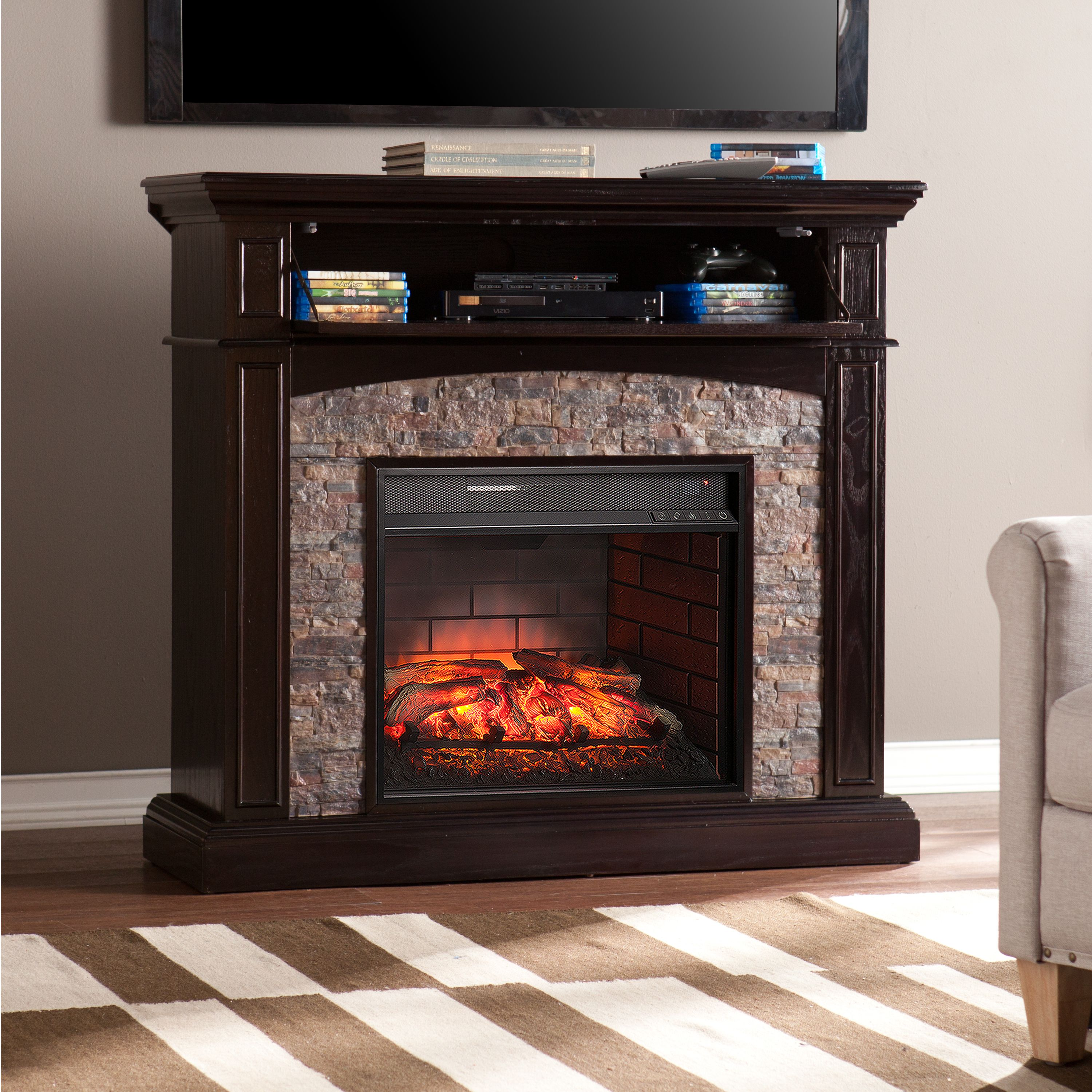 """Karina Corner Media Infrared Fireplace Console with Faux Stone for TV's up to 42"""" Ebony"""