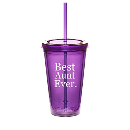 16oz Double Wall Acrylic Tumbler Cup With Straw Best Aunt Ever (Best Straw Cups)