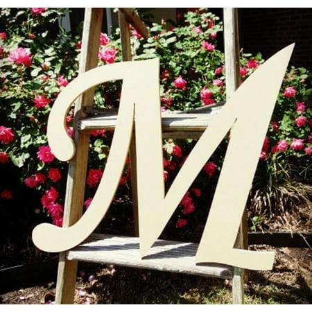 Unfinished Wooden Alphabet Letter, 24'' Monotype M, Large Unpainted