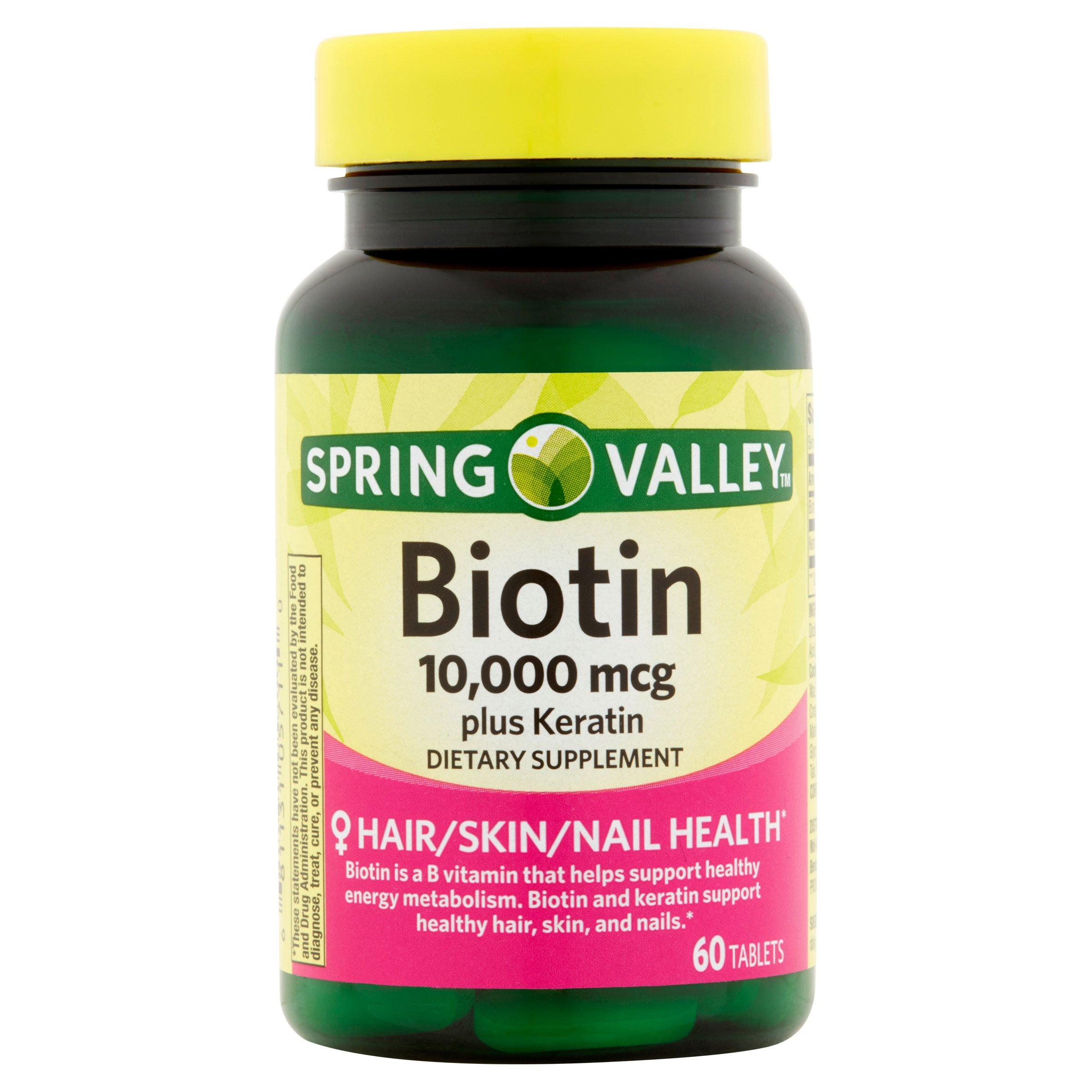 Spring Valley Biotin Tablets, 10,000mcg, 60 count ...