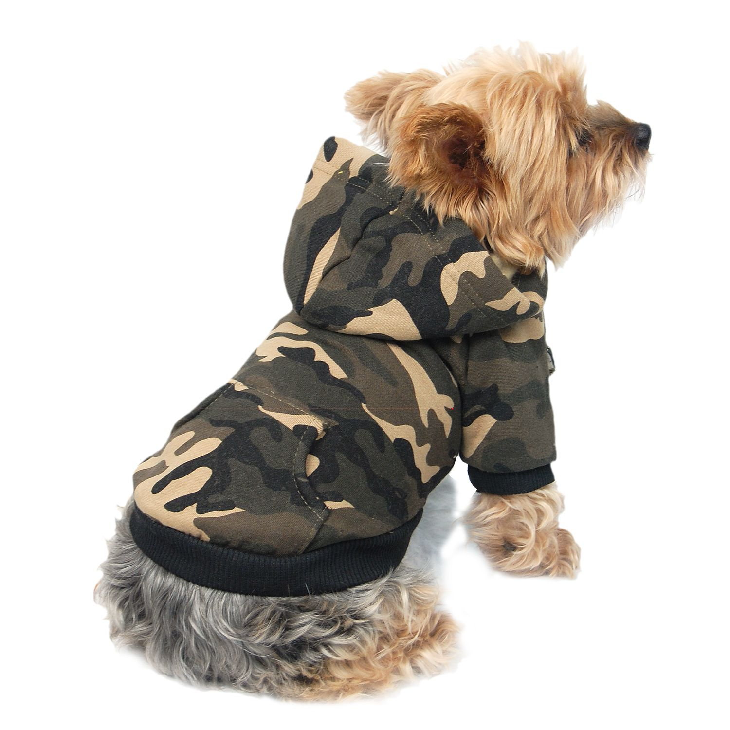 Green Camo Puppy Apparel Clothes Clothing Dog Sweatshirt Pullover Coat Hoodie Extra Small XS (Gift for Pet)