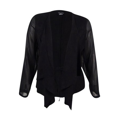 City Chic Women's Trendy Plus Size Draped Faux-Suede Blazer - Fully Lined Suede Blazer