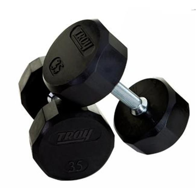 Troy Barbell TSD-045R Troy 12-Sided Rubber Encased Dumbbell - 45 lbs.  - Sold as single dumbbell