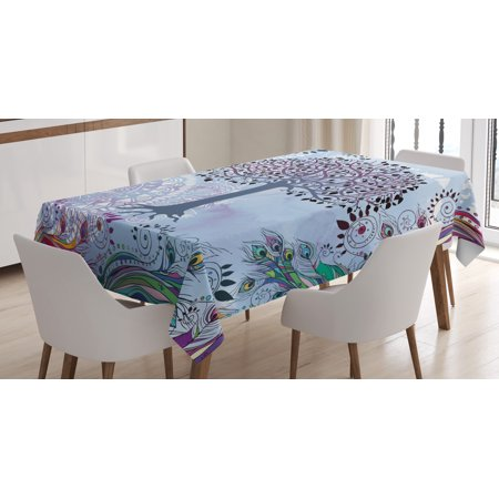 Peacock Tablecloth (Nature Tablecloth, Cute Tree of Life Motif with Peacock Feathers Tribal Vintage Primitive Nature Illustration, Rectangular Table Cover for Dining Room Kitchen, 60 X 84 Inches, Blue, by)