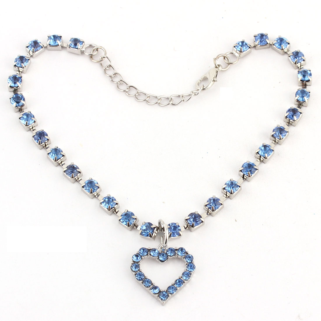 Dog Metal Beads Linked Rhinestone Inlaid Heart Shaped Pendant Necklace Blue