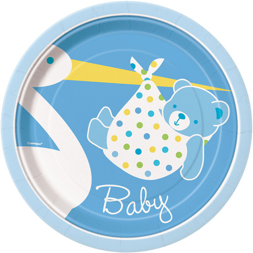 "7"" Blue Stork Baby Shower Plates, 8ct"
