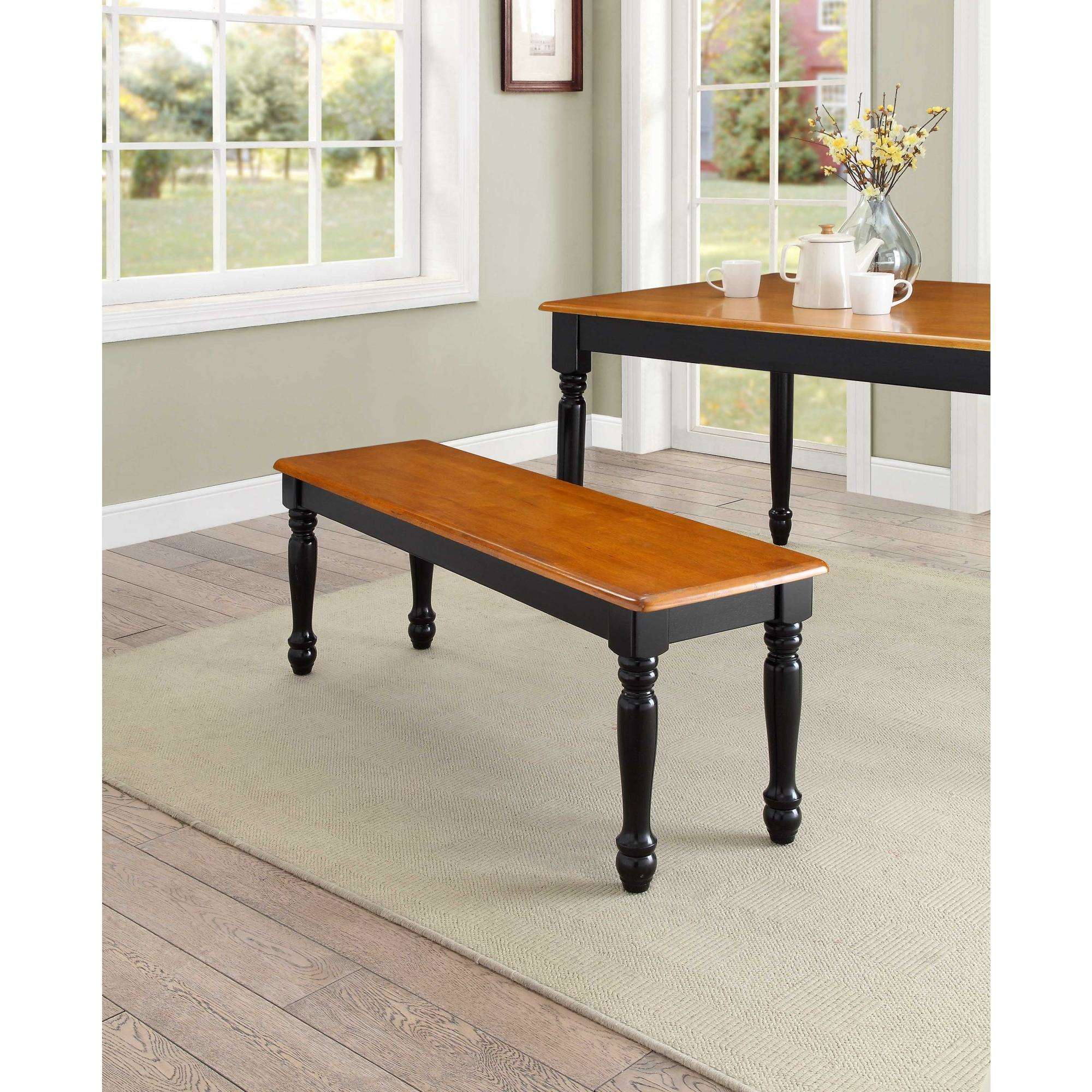 Better Homes And Gardens Autumn Lane Farmhouse Solid Wood Dining Bench,  Black And Oak
