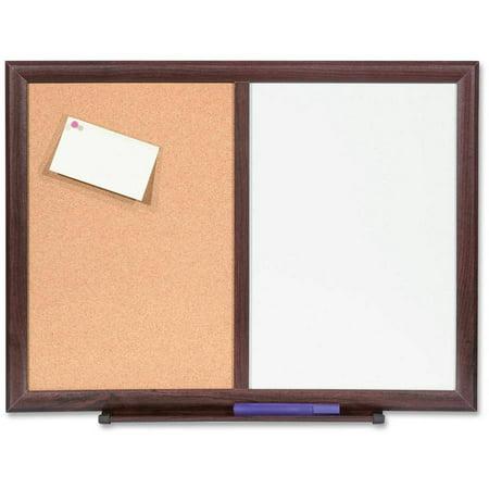 """Lorell Dry Erase Bulletin Combo Board, 24"""" x 18"""", Mahogany Frame"""