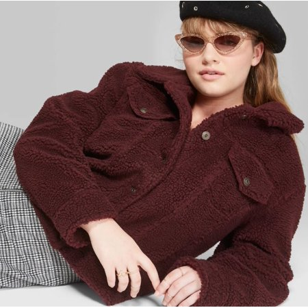 8983ac1cb19 Women s Plus Size Fuzzy Trucker Jacket - Wild Fable Burgundy (Red) 4X Image  1