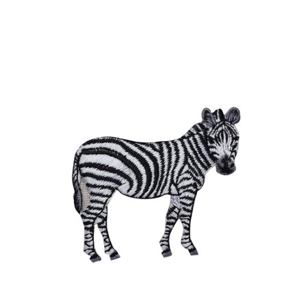 Zebra - Full Body - Standing - Facing Right - Natural Animal- Embroidered Patch/ Iron on Applique