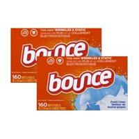 (2 Pack) Bounce Fabric Softener Sheets, Fresh Linen, 160 Count