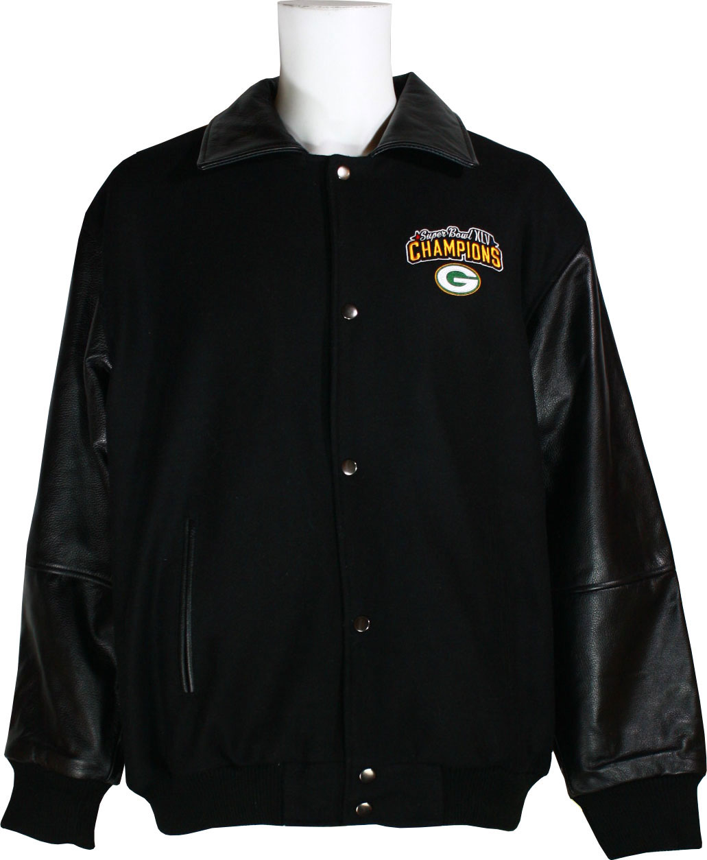 Green Bay Packers Super Bowl XLV Champions Men's Leather & Wool Jacket by G-III