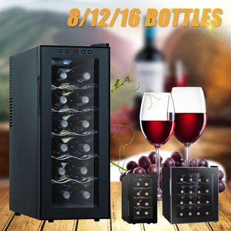 8 12 16 Bottle Thermal Electric Wine Cellar Refrigerator Cooler, Black