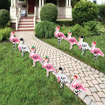 Flamingle Bells - Pink Flamingo Christmas Lawn Decorations - Outdoor Tropical Christmas Yard Decorations - 10 - Yard Flamingos In Bulk