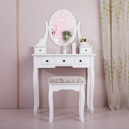 Jaxpety Wood Makeup Vanity Table Set w/ Oval Mirror and Stool ...