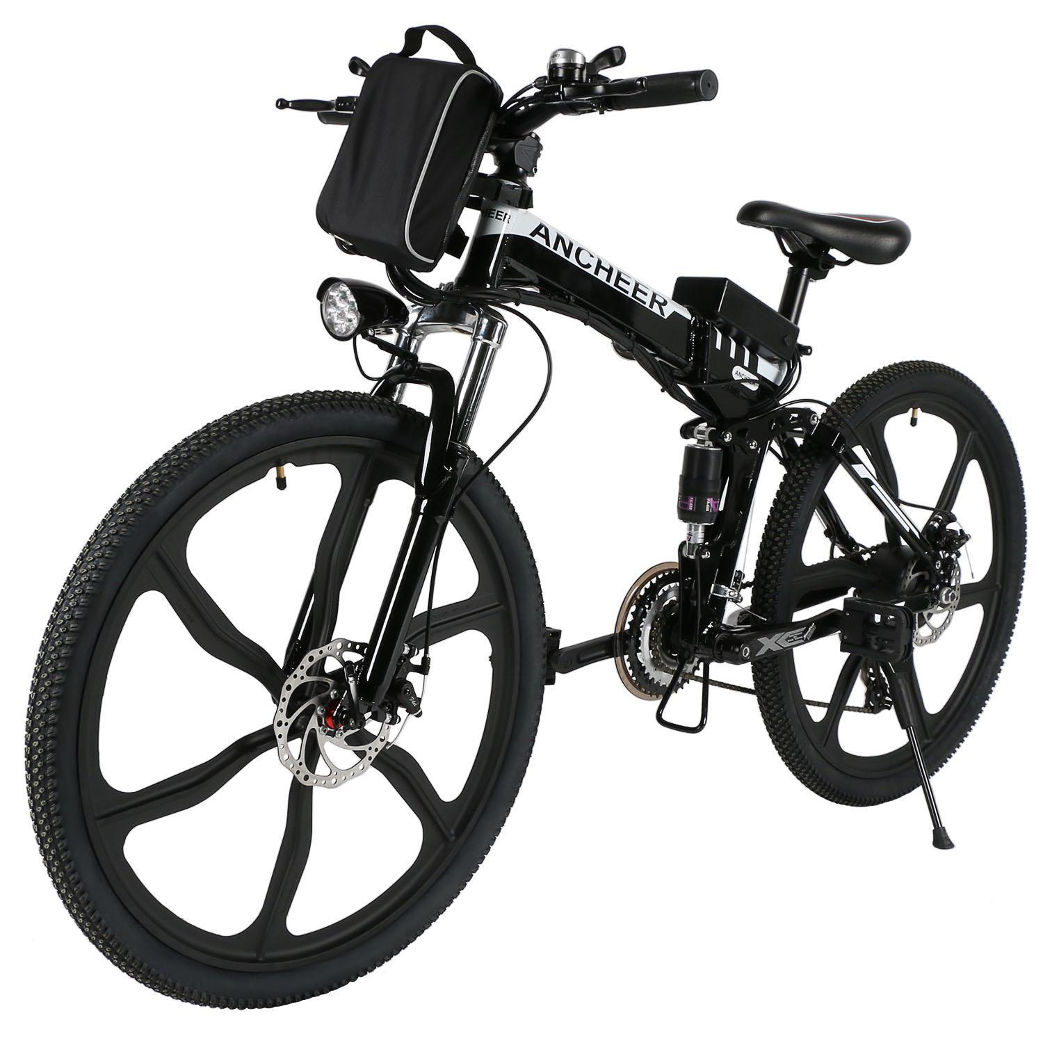 "Clearance!ANCHEER Upgrade 26""27 Speed Folding Electric Mountain Bike with Super Lightweight Magnesium Alloy 6 Spokes Integrated Wheel,Large Capacity Lithium-Ion Battery(36V 250W),and Shimano Gear"